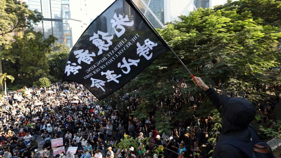 ปล่อยฮ่องกงเป็นอิสระ -ผู้ชุมนุมต่อต้านรัฐบาล